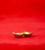 Decoración china del Año Nuevo: el rojo sentía el paquete o al prisionero de guerra w de la tela del ANG Foto de archivo
