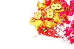 Decoración china del Año Nuevo en el fondo blanco , Charac chino Fotografía de archivo libre de regalías