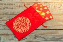 Decoración china del Año Nuevo en la pared de madera , Te de los caracteres chinos Foto de archivo libre de regalías
