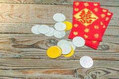 Decoración china del Año Nuevo en la pared de madera , Te de los caracteres chinos Imagen de archivo