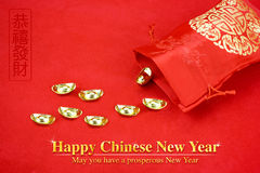 Decoración china del Año Nuevo: paquete rojo de la tela o prisionero de guerra del ANG con c Imagenes de archivo