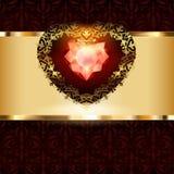 Decoración a cielo abierto de los corazones del oro con un ornamento en un fondo floral del art déco ilustración del vector