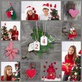 Decoración clásica de la Navidad en el rojo comprobado y verde con el niño Foto de archivo libre de regalías