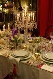 Decoración clásica de la tabla, evento de la cena, estilo elegante Foto de archivo