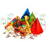 Decoración colorida de la fiesta del carnaval y de cumpleaños Fotografía de archivo libre de regalías