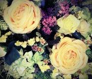 Decoración con las rosas y el efecto del vintage Fotografía de archivo