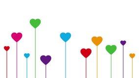 Decoración creciente colorida de los corazones en el fondo blanco libre illustration