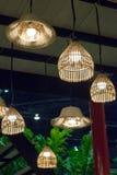 Decoración de bambú tailandesa de la lámpara del arte Foto de archivo