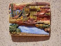 Decoración de cerámica colorida española tradicional de la pared Foto de archivo