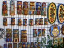 Decoración de cerámica colorida española tradicional de la pared Fotos de archivo