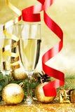 Decoración de Champán y del Año Nuevo Imagen de archivo libre de regalías