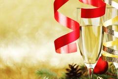 Decoración de Champán y del Año Nuevo Imagen de archivo