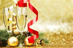 Decoración de Champán y del Año Nuevo Fotografía de archivo libre de regalías