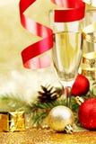 Decoración de Champán y del Año Nuevo Imagenes de archivo