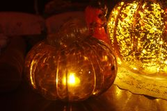 Decoración de cristal de las calabazas Imagen de archivo libre de regalías