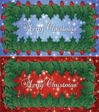 Decoración de Holly Border With Holly Berries del doble de la Feliz Navidad libre illustration
