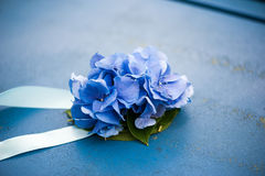 Decoración de hortensias en las cintas azules para la textura del metal Foto de archivo libre de regalías