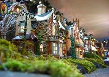 Decoración de la aldea de la Navidad Imágenes de archivo libres de regalías