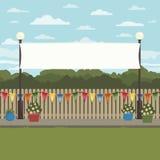 Decoración de la bandera del paisaje stock de ilustración