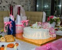 Decoración de la boda en restaurante Fotografía de archivo libre de regalías