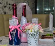Decoración de la boda en restaurante Fotografía de archivo