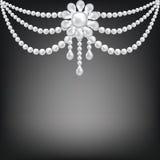 Decoración de la broche de la perla Foto de archivo libre de regalías
