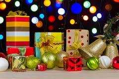 Decoración de la caja y de la Navidad de regalo Fotos de archivo libres de regalías