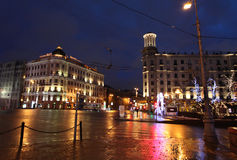 Decoración de la calle del Año Nuevo de Moscú Fotografía de archivo libre de regalías