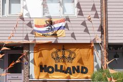 Decoración de la calle en Hoogeveen con respecto a los campeonatos europeos del fútbol Imagenes de archivo