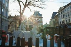 Decoración de la calle para los días de fiesta de la Navidad y del Año Nuevo en rayo Fotografía de archivo
