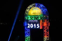 Decoración de la celebración del Año Nuevo de Legoland 2015 Imágenes de archivo libres de regalías