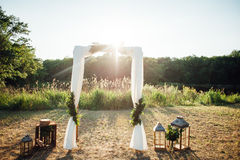 Decoración de la ceremonia de boda Imagenes de archivo