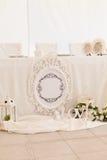 Decoración de la ceremonia de boda en el restaurante Imágenes de archivo libres de regalías