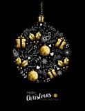 Decoración de la chuchería de la Navidad del oro y del Año Nuevo Foto de archivo