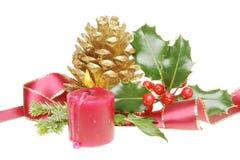 Decoración de la cinta de la Navidad Foto de archivo libre de regalías