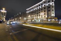 Decoración de la ciudad, calle de Tverskaya, Moscú de la iluminación de la Navidad del Año Nuevo Rusia Fotografía de archivo
