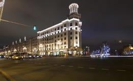 Decoración de la ciudad, calle de Tverskaya, Moscú de la iluminación de la Navidad del Año Nuevo Rusia Fotografía de archivo libre de regalías