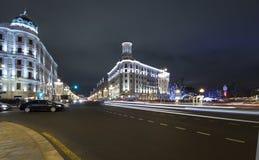 Decoración de la ciudad, calle de Tverskaya, Moscú de la iluminación de la Navidad del Año Nuevo Rusia Foto de archivo