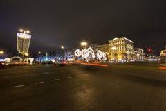 Decoración de la ciudad, calle de Tverskaya, Moscú de la iluminación de la Navidad del Año Nuevo Rusia Imagen de archivo