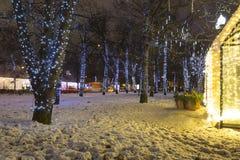 Decoración de la ciudad, cuadrado de Novopushkinsky, Moscú de la iluminación del Año Nuevo y de la Navidad Rusia Fotografía de archivo libre de regalías