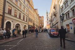 Decoración de la ciudad en tiempo de la Navidad del advenimiento en Praga Fotografía de archivo libre de regalías
