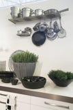 Decoración de la cocina por los floreros Foto de archivo