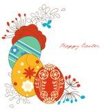 Decoración de la esquina de los huevos de Pascua Imagenes de archivo
