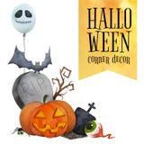 Decoración de la esquina de Halloween para las tarjetas y los carteles Imagen de archivo libre de regalías