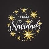 Decoración de la estrella de Feliz Navidad Spanish Merry Christmas y fuente de oro de la caligrafía de la tarjeta de felicitación stock de ilustración