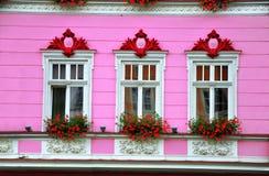 Decoración de la fachada Ventanas blancas con las flores en la pared rosada Imágenes de archivo libres de regalías