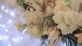 Decoración de la flor de la boda almacen de metraje de vídeo