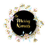 Decoración de la flor de la Navidad del oro para la tarjeta de felicitación Fotografía de archivo