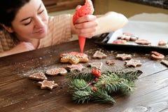 Decoración de la galleta y de la Navidad del jengibre Fotos de archivo