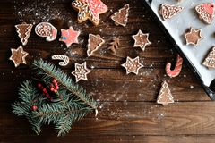 Decoración de la galleta y de la Navidad del jengibre Imagen de archivo
